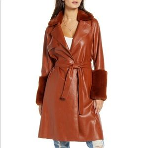 Blank NYC   Faux Leather Coat with Faux Fur Trim
